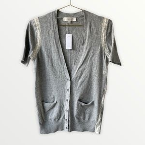 LOFT Grey Vneck Short Sleeve Lace Side Cardigan S